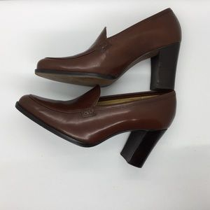 Leather Brown Pump Loafers Stacked Wood Heel 6B